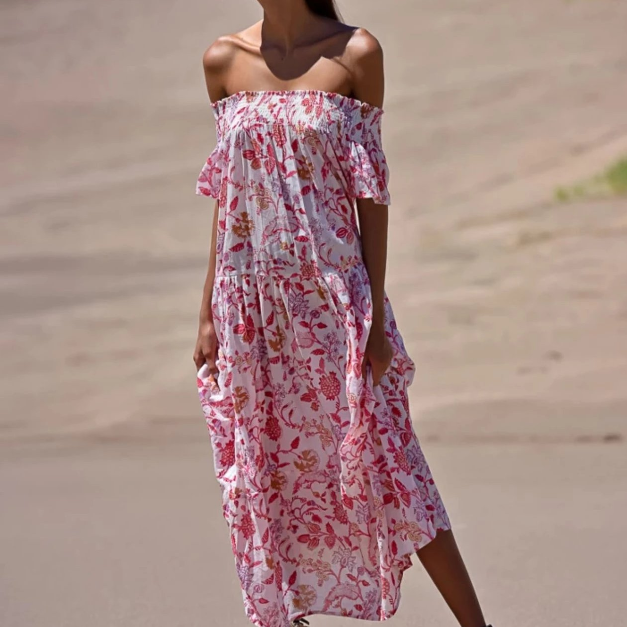 Guadalupe Momposina Off The Shoulder Maxi - Garden Pink
