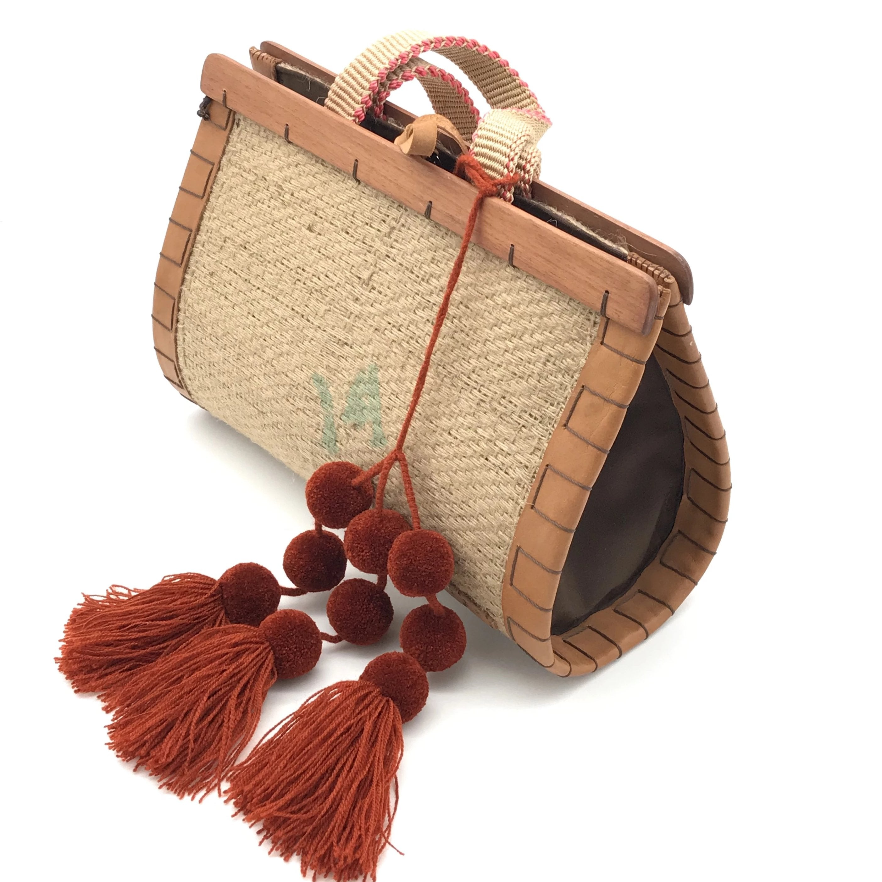 Dutzi Medium Drop Shaped Burlap Handle Bag W/ Pom Poms