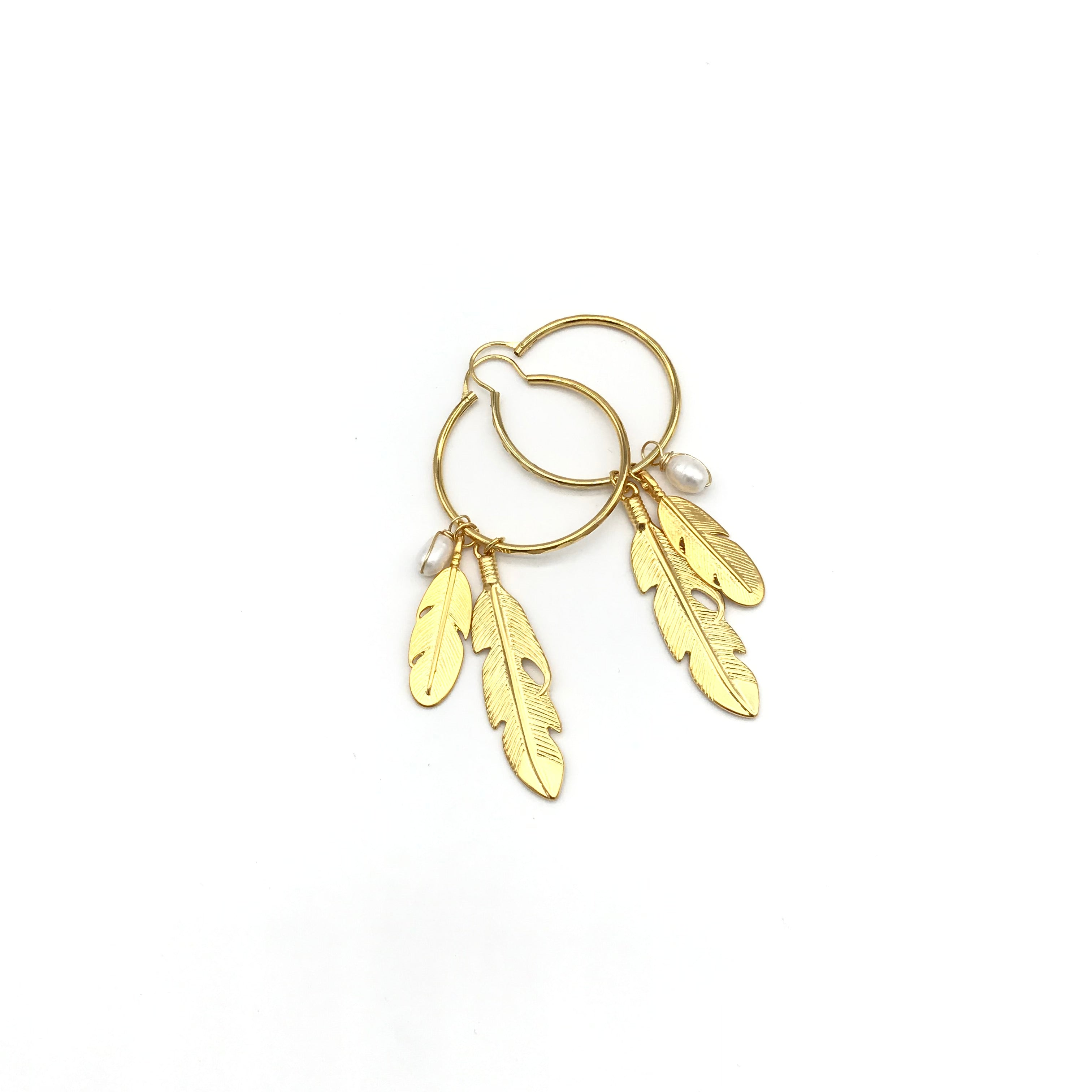 Vangania  Feather & Pearl Hoop Earrings