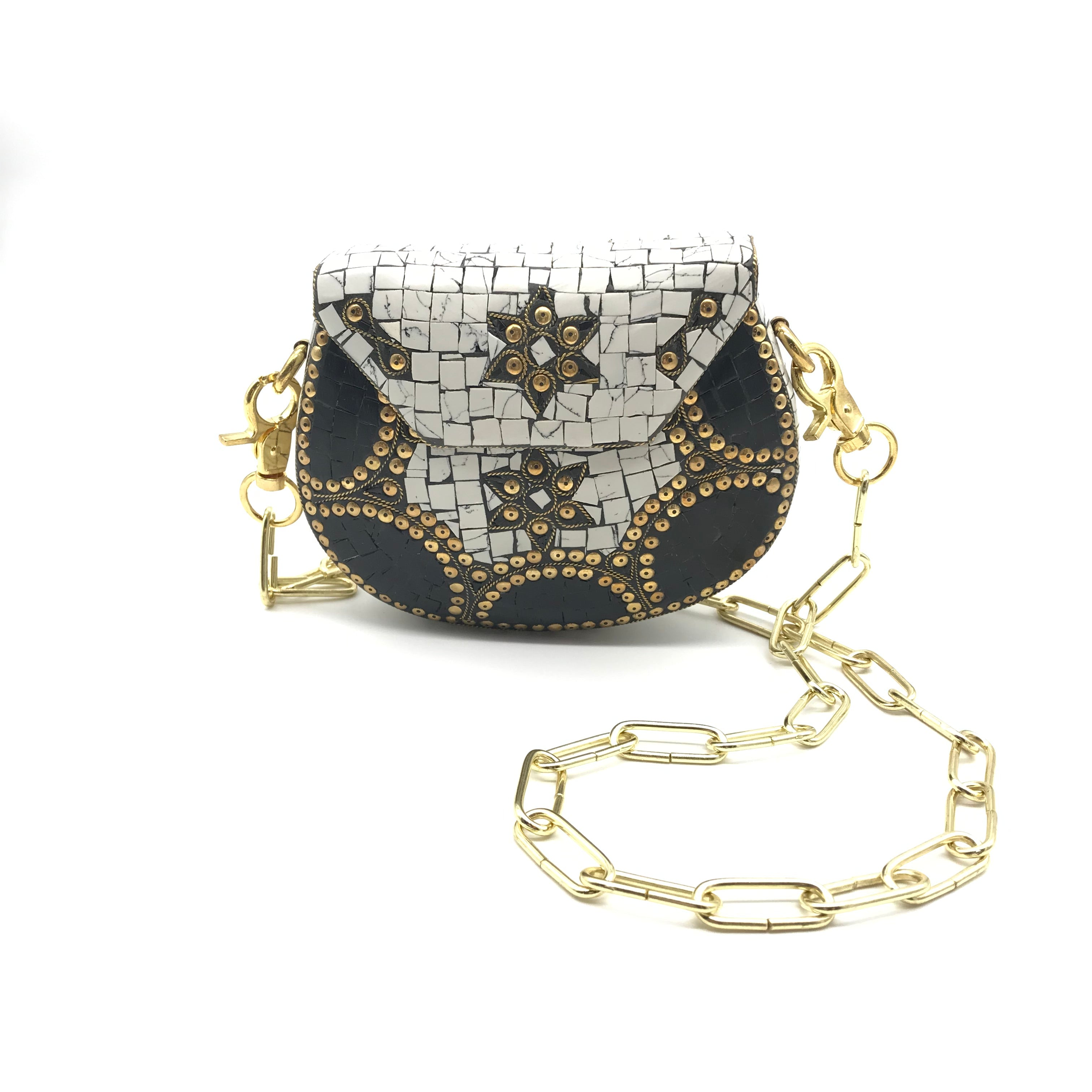 Alakuum Brass & Mosaic Cross Body Bag