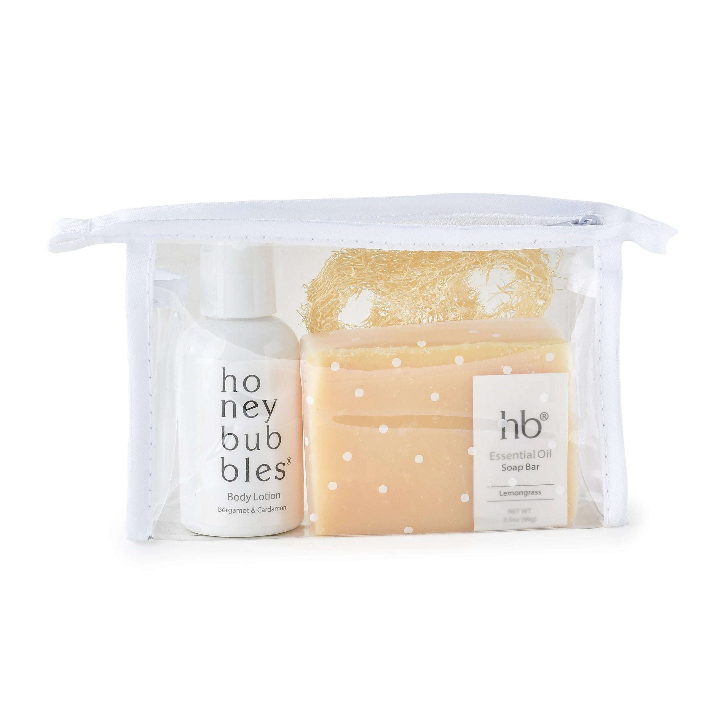 Honey Bubbles Mini Essentials Loofah Travel Bag