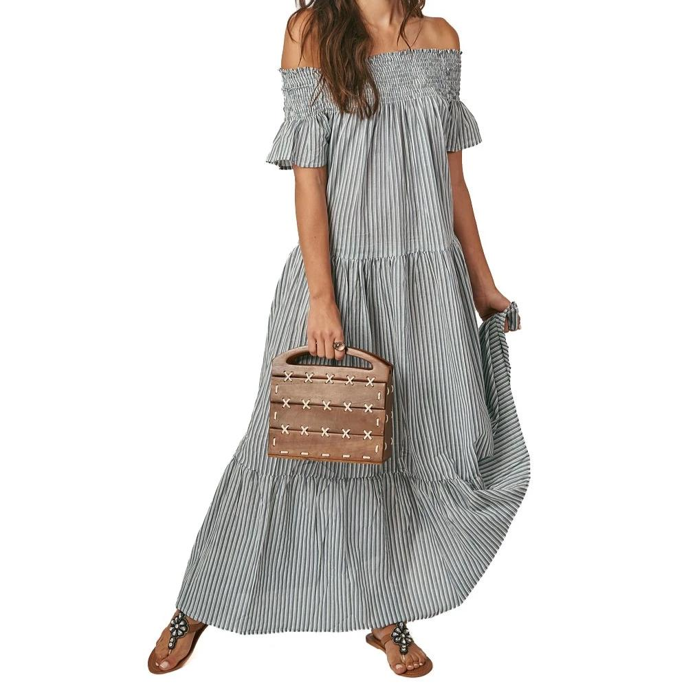Guadalupe Momposina Off The Shoulder Maxi - Stripes Black