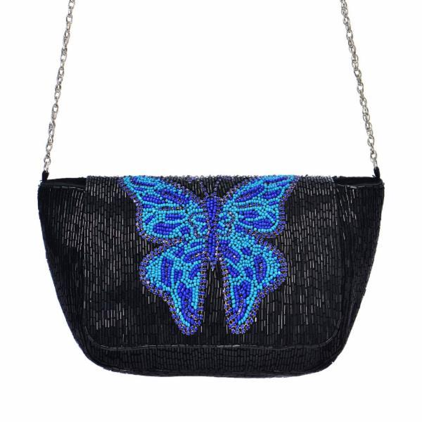 Guadalupe Blue Butterfly Beaded Chain Cross Body - Black