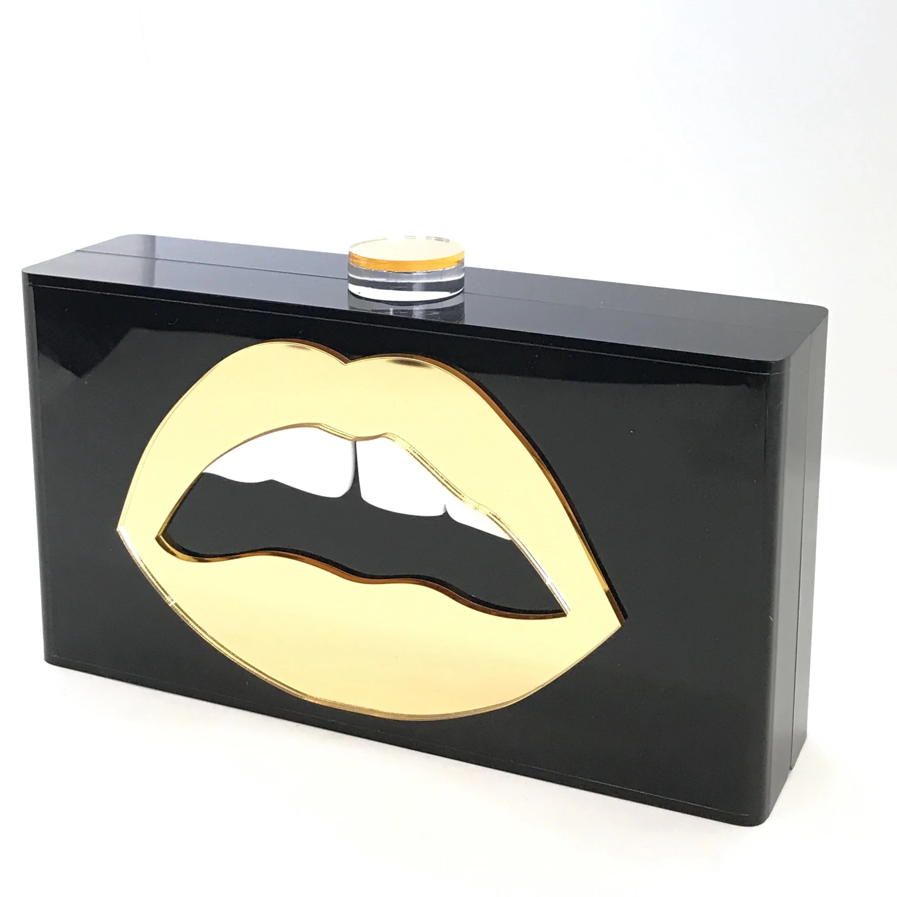 Lola Basso Gold on Black Mirrored Lips Acrylic Clutch