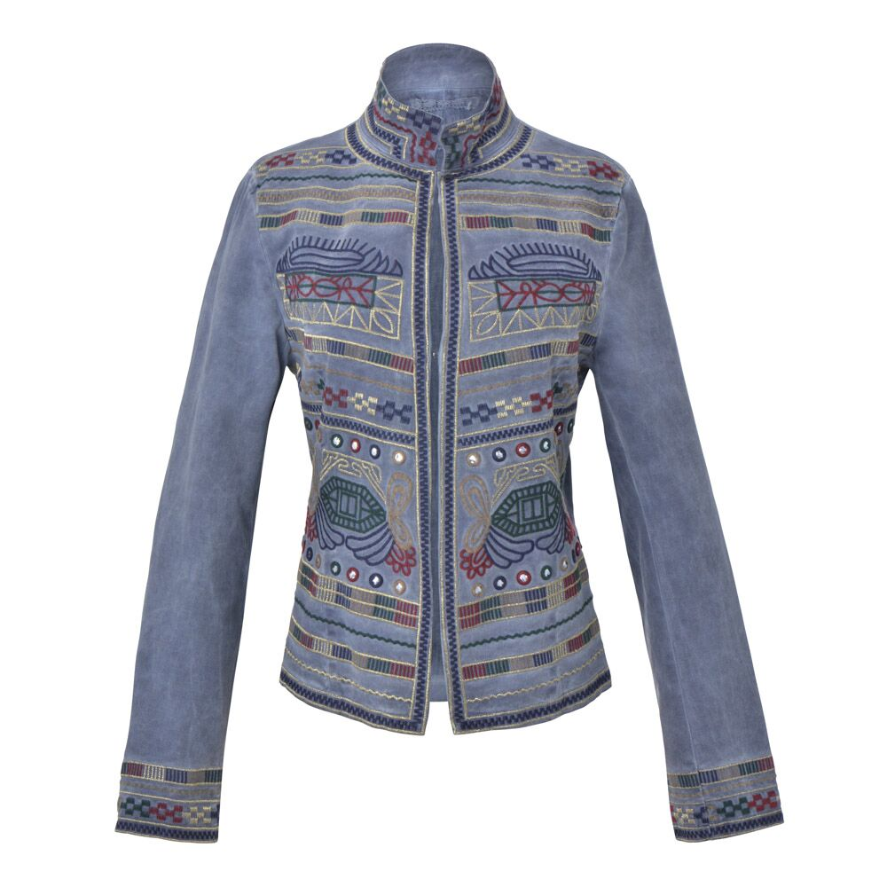 Guadalupe Sapphire Embroidered Jacket - Blue