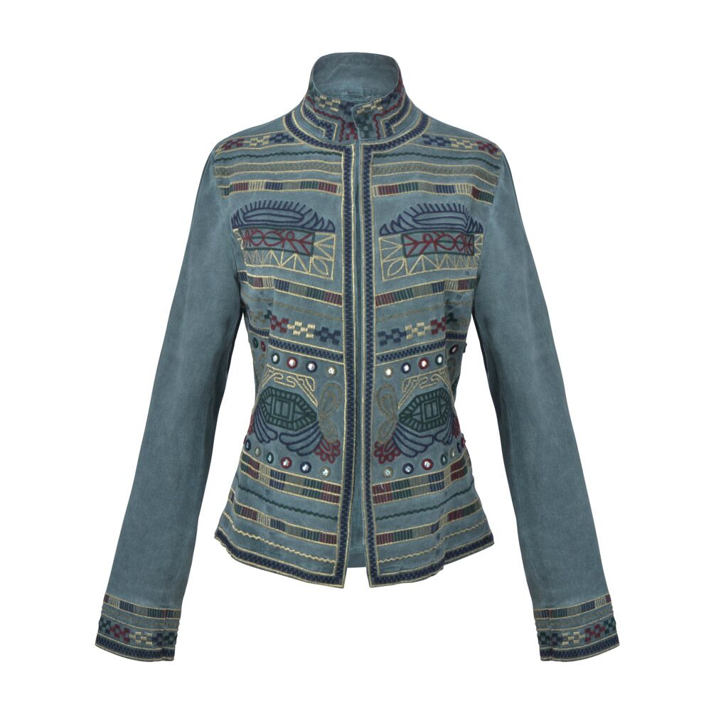 Guadalupe Sapphire Embroidered Jacket - Green