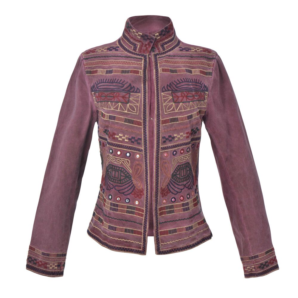 Guadalupe Sapphire Embroidered Jacket - Plum