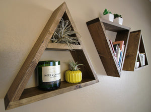 Floating Triangle Wall Shelves - Set Of Three