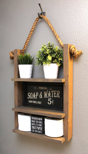Farmhouse Decor Hanging Bathroom Storage Shelf - Dark Walnut