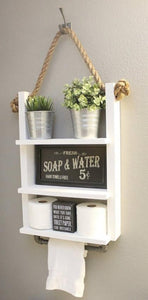Bathroom Storage Rope Shelf with Industrial Towel Bar - Linen White
