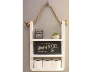 Hanging Farmhouse Bathroom Storage Shelf