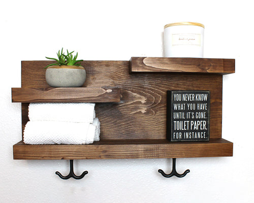 Bathroom Shelf with Towel Hooks