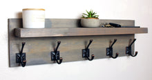 Farmhouse Storage Coat and Hat Rack with Floating Shelf - Weathered Gray