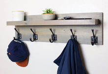 Coat Rack with Floating Shelf and Bronze Hooks