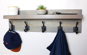 Coat and Hat Rack with Floating Shelf - Weathered Gray