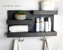 Bathroom Shelf with Aged Bronze Towel Hooks