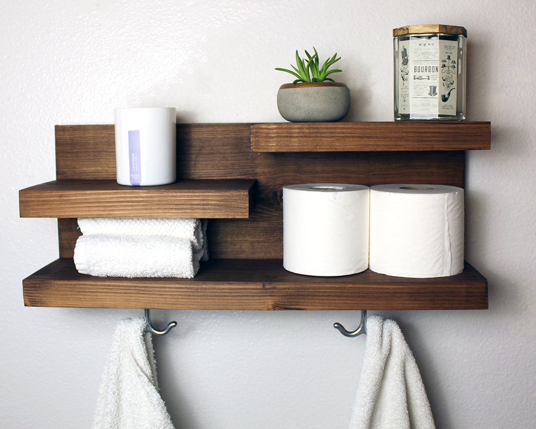 Bathroom Organizer Wall Shelf With Towel Hooks
