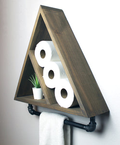 Bathroom Triangle Shelf with Industrial Towel Bar