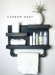 Bathroom Shelf with Industrial Farmhouse Towel Bar