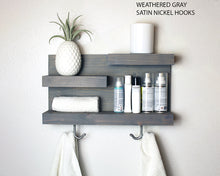 Bathroom Storage Shelf with Modern Towel Hooks