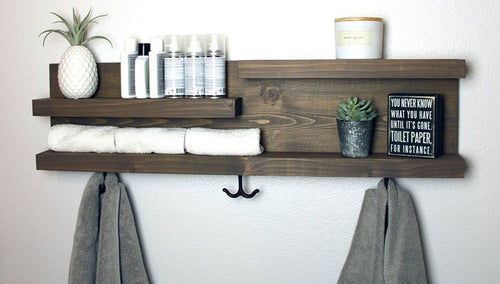"32"" Bathroom Shelf Organizer with Towel Hooks - Modern Farmhouse Decor"