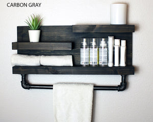 "Bathroom Shelf with Industrial Farmhouse 18"" Towel Bar"