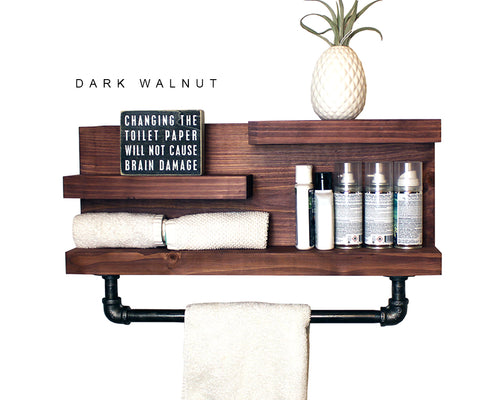 "Bathroom Shelf with 18"" Industrial Pipe Towel Bar"