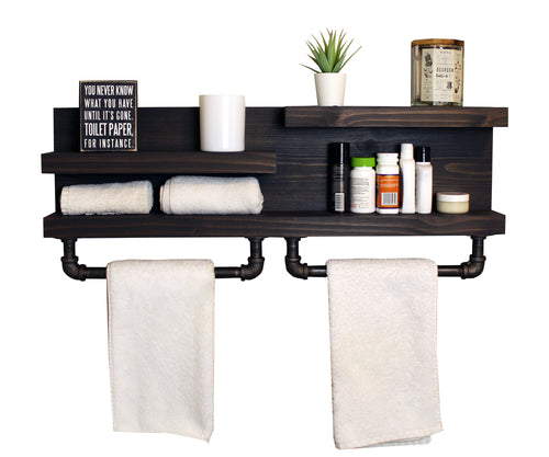 Modern Farmhouse Bathroom Shelf with Industrial Pipe Towel Bars
