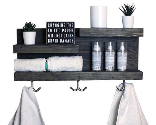 "23"" Bathroom Shelf with Modern Towel Hooks - Gray"