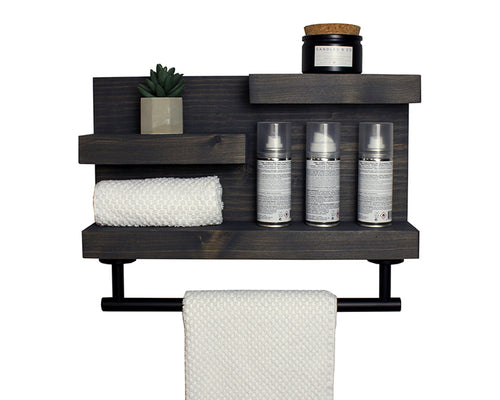 Bathroom Shelf Organizer with Modern Towel Bar - Modern Farmhouse Decor