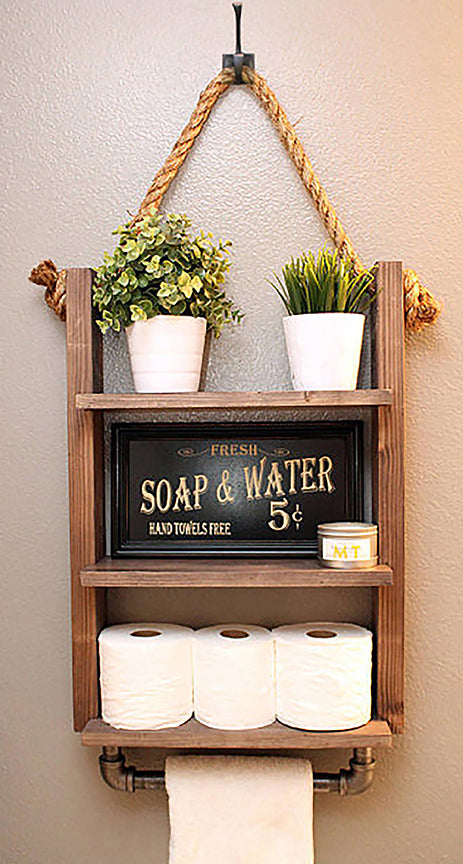 Hanging Bathroom Shelf with Industrial Towel Bar