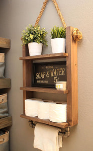 Farmhouse Bathroom Ladder Shelf with Industrial Towel Bar - Espresso