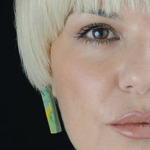 Load image into Gallery viewer, Green Rectangle Studs Earrings with Sterling Silver 925 findings