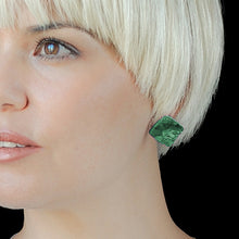 Load image into Gallery viewer, Green Square Studs Earrings with Sterling Silver 925 findings