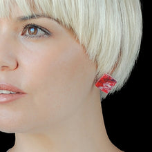 Load image into Gallery viewer, Red Square Studs Earrings with Sterling Silver 925 findings