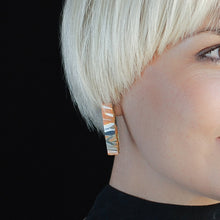 Load image into Gallery viewer, Orange Rectangle Studs Earrings with Sterling Silver 925 findings