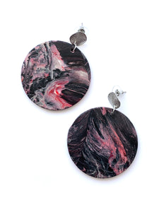Black and Red Statement Earrings with Sterling Silver Posts
