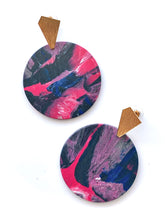 Load image into Gallery viewer, Pink Statement Earrings with Gold Plated Sterling Silver Posts