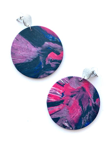 Pink Statement Earrings with Stainless Steel Posts