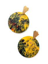 Load image into Gallery viewer, Yellow Statement Earrings with Gold Plated Sterling Silver Posts