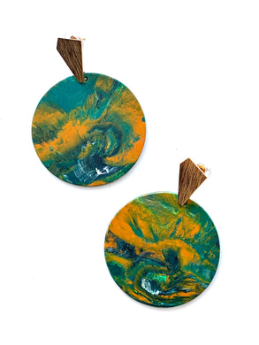 Green and Orange Statement Earrings with Gold Plated Sterling Silver Posts