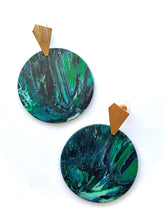 Load image into Gallery viewer, Dark Green and Navy Statement Earrings with Gold Plated Sterling Silver Posts
