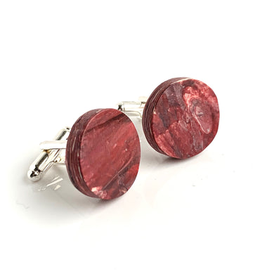 Round Red Cufflinks with brass findings