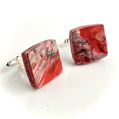 Square Red Cufflinks with brass findings