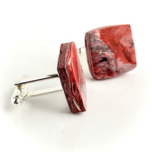 Load image into Gallery viewer, Square Red Cufflinks with brass findings