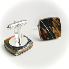 Load image into Gallery viewer, Square Orange Cufflinks with brass findings