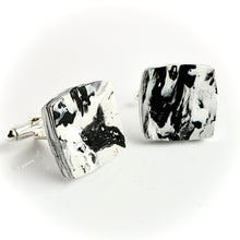 Load image into Gallery viewer, Square Black & White Cufflinks with brass findings