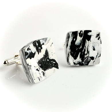 Square Black & White Cufflinks with brass findings
