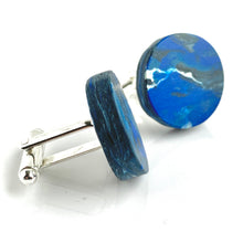 Load image into Gallery viewer, Round Navy Cufflinks with brass findings