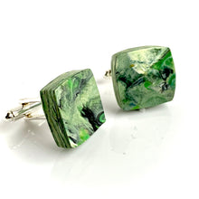 Load image into Gallery viewer, Square Green Cufflinks with brass findings